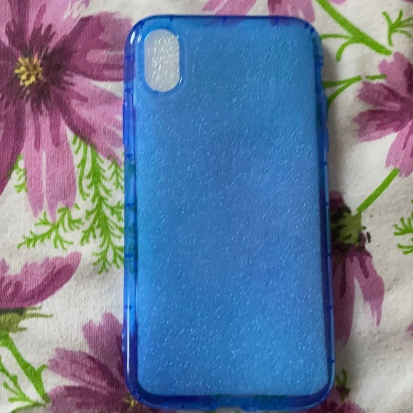 A clear blue iPhone XR case.
